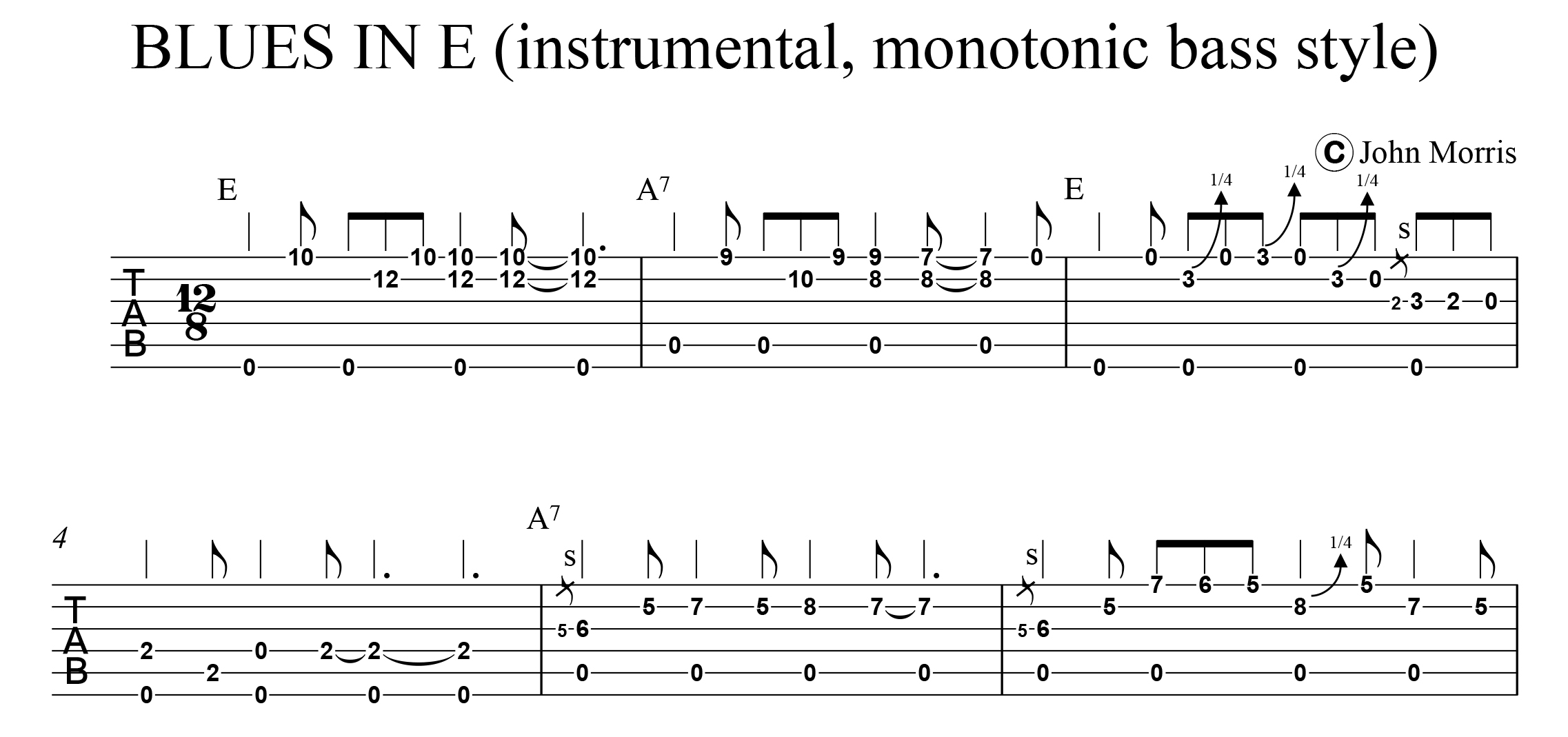 Monotonic Bass Style Blues In E